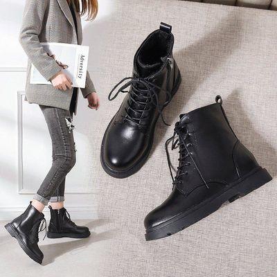 马丁靴女鞋2019年新款百搭英伦风秋款短靴秋季秋冬季黑色冬鞋加绒