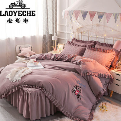 新品全夹棉床裙四件套韩版床上用品纯色加厚公主床罩款式被子套