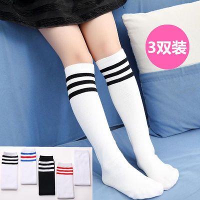 儿童中筒高筒袜女童男童公主学生运动足球长筒过膝女白色长袜薄夏