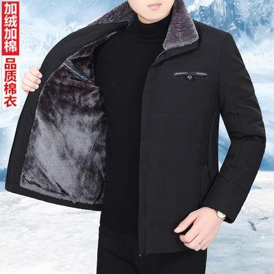 冬季中年男装翻领棉衣加绒加厚保暖外套中老年人棉服爸爸装棉袄