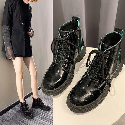 女鞋2019新款潮高帮马丁靴女学生韩版冬季加绒时尚百搭短筒时装靴