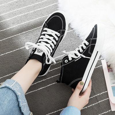 人本高帮帆布鞋女2020新款网红韩版ulzzang百搭二棉鞋秋加绒保暖