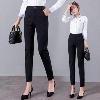夏季西装裤女九分韩版中腰修身显瘦宽松直筒裤黑色百搭小西裤