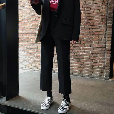黑色直筒西装裤秋冬季新款韩版宽松九分裤高腰休闲阔腿裤子女学生