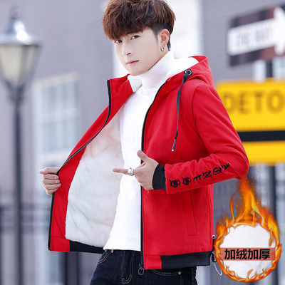 冬季加绒夹克男士保暖外套青年学生棉衣男装连帽加厚棉服潮流棉袄