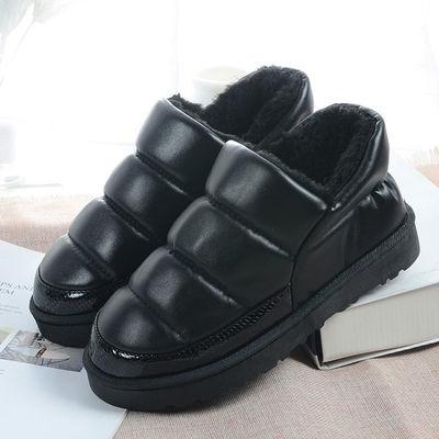 包跟冬季居家室内棉拖鞋女防水冬月子鞋厚底保暖情侣pu皮拖鞋男士