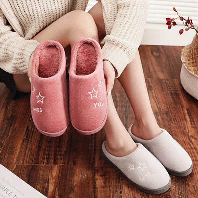 冬季加绒棉拖鞋保暖防滑居家棉拖鞋地板拖鞋男女情侣学生棉拖鞋
