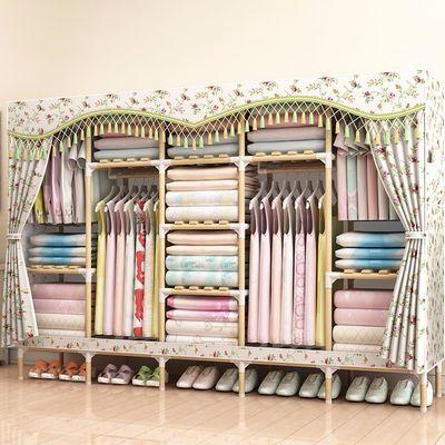 【精装版大容量】简易衣柜实木布衣柜收纳架组装衣柜双人大号衣橱