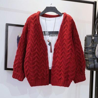 外套女秋装新款潮韩版宽松V领短款麻花学生针织衫毛衣开衫春秋季