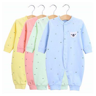 婴儿连体衣男女宝宝纯棉开闭档长袖睡衣爬衣哈衣新生儿衣服3-6月