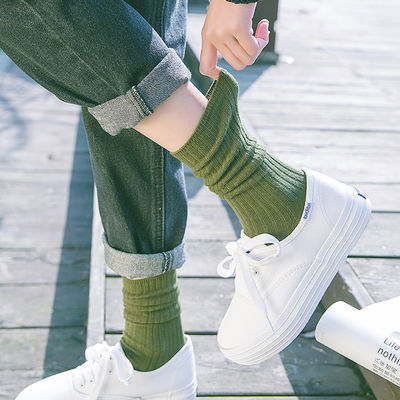 2-3-4双堆堆袜女秋冬日系百搭棉中筒袜韩国学院风长筒袜长袜子女