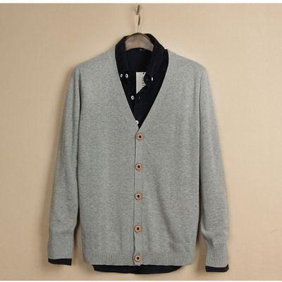 男装春秋针织衫长袖开衫纯色v领薄韩版潮流修身男士线衣外套毛衣