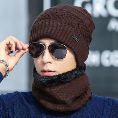 毛线帽子男冬青年保暖加厚针织毛线帽韩版潮加绒冬天棉帽防寒套头主图