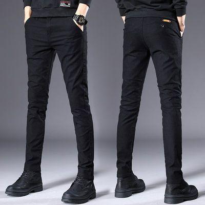 秋季男装商务休闲裤男士修身小脚西裤韩版潮流秋冬款黑色加绒裤子
