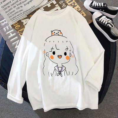 加绒不加绒 白色长袖t恤女2019秋季装新款韩版学生打底衫上衣ins