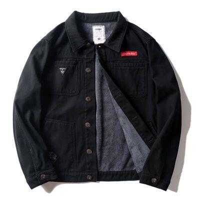 牛仔工装外套男士韩版潮流休闲上衣秋冬季余文乐潮牌加绒加厚夹克
