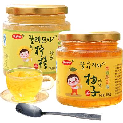 骏晴晴500g柚子柠檬茶蜂蜜果茶单瓶 芦荟百香果蓝莓等多口味组合