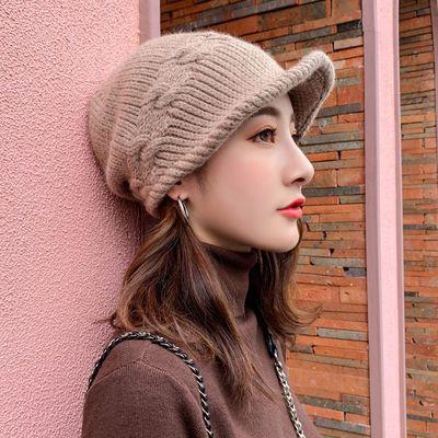 帽子女秋冬时尚韩版针织套头帽包头防风保暖百搭毛线月子帽潮人
