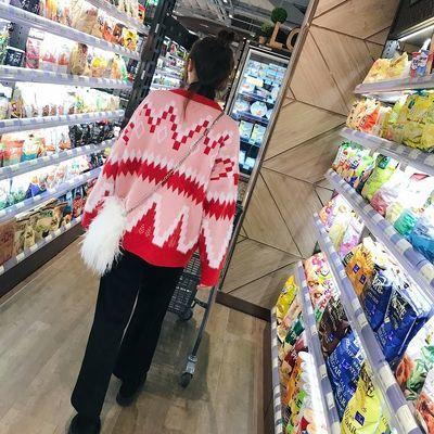 春装新款红色V领新年针织衫开衫韩版学生宽松毛衣外套女秋冬针织