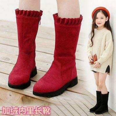 女童冬季长靴侧拉链保暖靴加绒内里防滑底童鞋学生鞋中大童4-12岁
