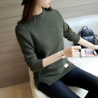 针织衫秋冬新款韩版宽松百搭打底衫短款长袖圆领套头小清新毛衣女