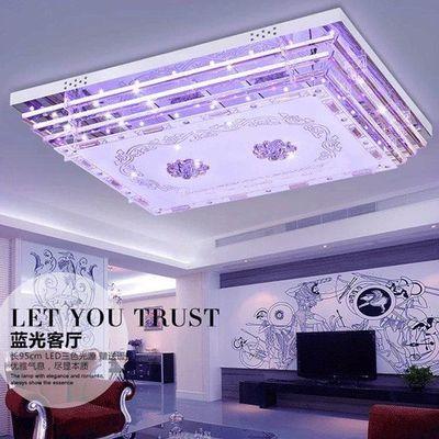 水晶灯客厅灯长方形大厅LED吸顶灯MP3蓝牙七彩音乐灯卧室灯套餐