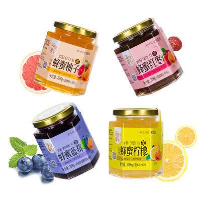 韩情蜂蜜柚子茶208g瓶装 柠檬百香果红枣蓝莓芦荟8种口味酱