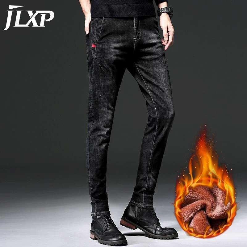Winter New Plush And Thickened Elastic Jeans Men's Slim Leggings Men's Casual Long Pants Trend