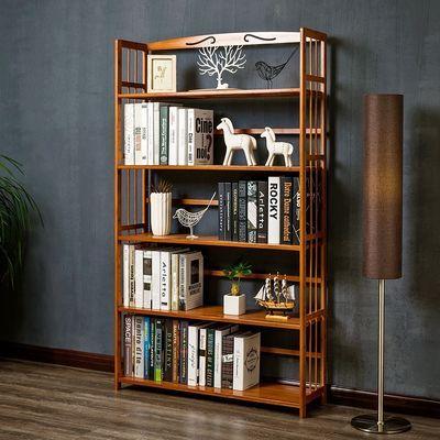 简易书架置物收纳落地简约实木客厅儿童桌上面学生小书柜子