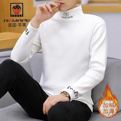 【包邮】美国苹果冬季加绒加厚男士长袖T恤潮流半高领打底衫青年保暖卫衣