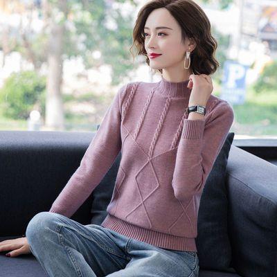 半高领套头针织衫女新款显年轻妈妈装毛衣100%羊毛衫上衣打底衫潮