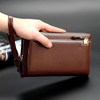 男士手包真皮大容量手拿包休闲长款钱包手机包双拉链商务手抓包男