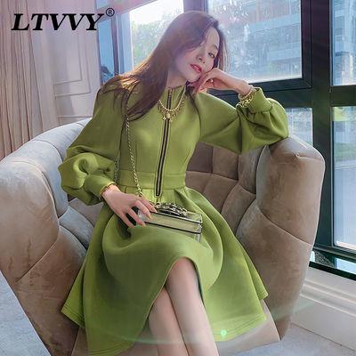 LTVVY牛油果绿灯笼袖洋气连衣裙秋装女2019新款小个子显瘦a字裙女