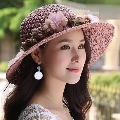 草帽女夏天沙滩帽海边出游百搭太阳帽防紫外线遮阳帽遮脸防晒帽子