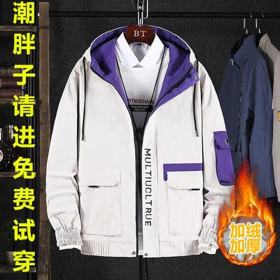 秋冬季男士夹克加肥加大码休闲工装加绒加厚宽松外套青年韩版潮牌