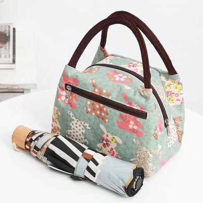 新款多拉链防水牛津布女包休闲手提包妈咪出行小布包饭盒袋便当包