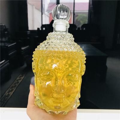 创意佛头红酒瓶750m洋酒瓶空瓶晶白料玻璃瓶冰酒瓶葡萄酒瓶醒酒器