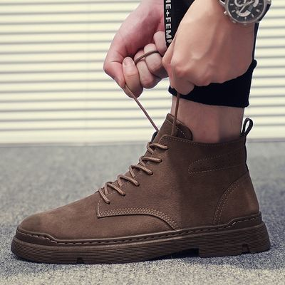 新款男鞋马丁靴复古皮靴抖音爆款;适合季节;秋冬季鞋头形状圆头;功能;防水增高;减震防滑;四种颜色可选;关于发货;默认中通快递