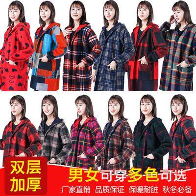 77255/剪毛绒罩衣成人长袖加绒加厚护衣外穿工作服厨房围裙女反穿衣秋冬