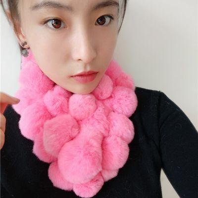 新款獭兔毛皮草围巾女冬季款学生韩版可爱加厚保暖真兔毛围脖套头