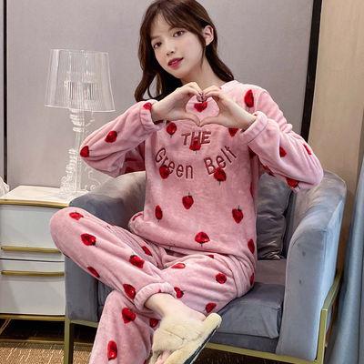 日系草莓可爱甜美珊瑚绒睡衣女士法兰绒秋冬季可外穿学生家居服