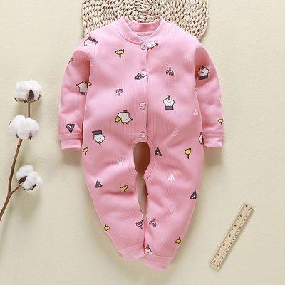 婴儿连体衣服加绒加厚春秋冬装保暖开裆新生女宝宝男6个月1岁睡衣