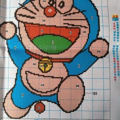 哆啦A梦机器猫印花十字绣卧室儿童动漫可爱卡通人物小幅简单线绣