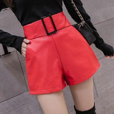 [新款]PU皮短裤女秋季大码高腰阔腿裤宽松显瘦a字靴裤子外穿