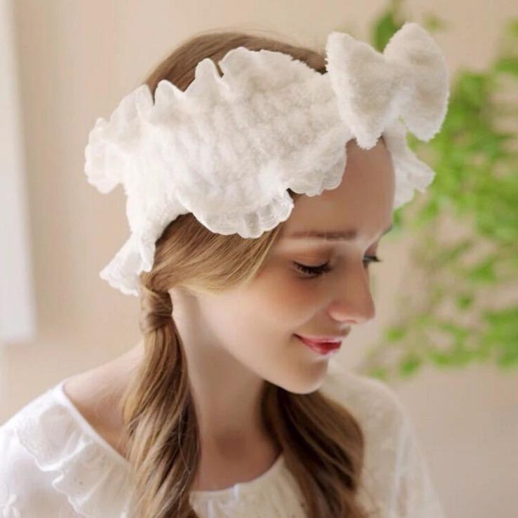 蕾丝蝴蝶结洗脸发带甜美公主荷叶边发箍宽边面膜头巾束发带女头饰