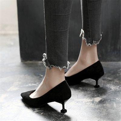 [新款]单鞋女高跟鞋女细跟韩版猫跟女鞋春秋新款鞋子尖头百搭职业