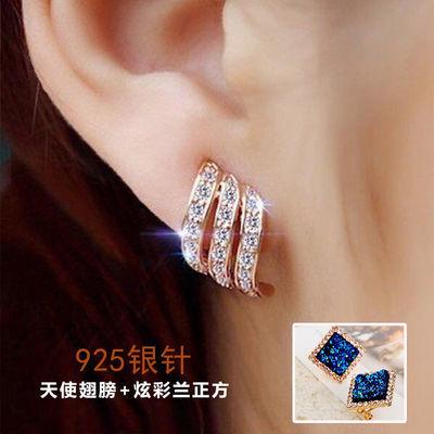 银S925气质网红耳钉春季新款防过敏镶钻耳环彩金色韩版水晶耳饰品