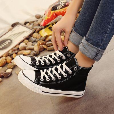 春夏高帮帆布鞋女鞋新款韩版休闲板鞋学生系带鞋情侣低帮帆布鞋女