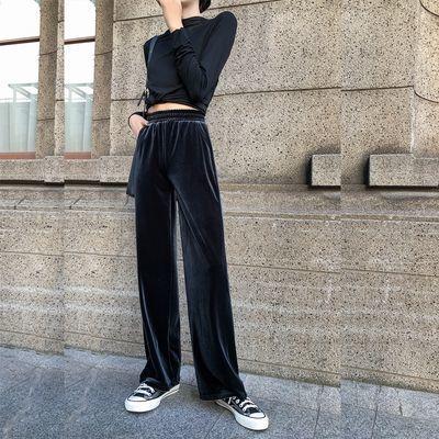 阔腿裤女学生韩版宽松黑色丝绒夏季运动裤金丝绒高腰显瘦休闲长裤