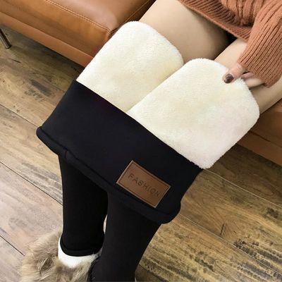 冬季新款加绒加厚羊羔绒打底裤女外穿显瘦高腰一体裤保暖棉裤大码